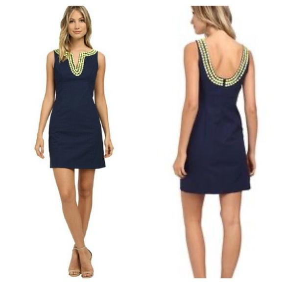 Lilly Pulitzer Dresses & Skirts - Lily Pulitzer Blair beaded shift dress navy/ 2